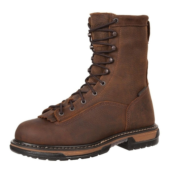 "Rocky Work Boots Mens 8"" Ironclad Waterproof Leather Brown"