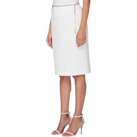 Tahari Womens Basic Pencil Skirt, Off-white, 4P