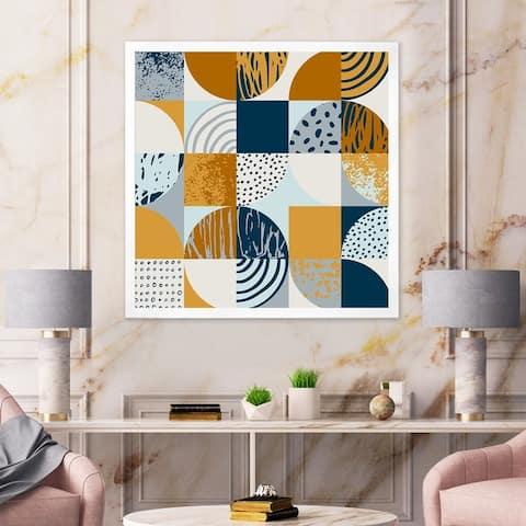 Designart 'Retro Semicircles Circles and Squares' Modern Framed Art Print