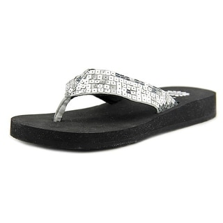 Yellow Box Sandy Women Open Toe Canvas Black Thong Sandal