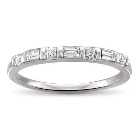 Montebello 14KT White Gold 1/3t TDW Baguette-cut Diamond Wedding Band