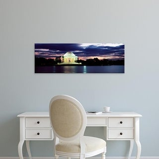 Easy Art Prints Panoramic Images's 'Monument lit up at dusk, Jefferson Memorial, Washington DC, USA' Canvas Art