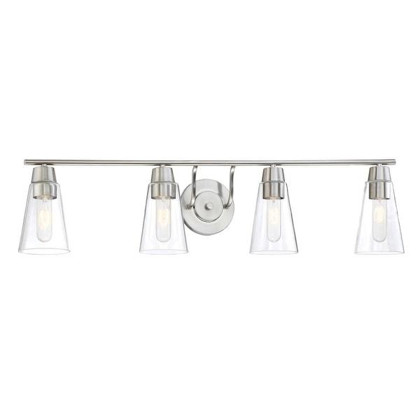 Designers Fountain 87804 Echo 4 Light Bathroom Fixture with Clear Glass Shades - satin platinum