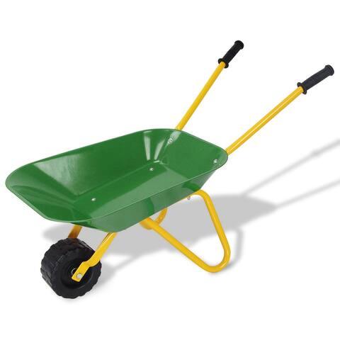 Outdoor Garden Backyard Play Toy Kids Metal Wheelbarrow - Green