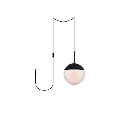 """Elian 1-Light Plug in Pendant with Frosted White Shade - Black - 10"""" Diameter"""