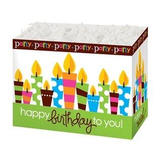 """Pack of 6, Large Birthday Party Basket Boxes 10.25 x 6 x 7.5"""" As Great Table Centerpieces for Parties"""