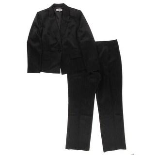 Le Suit Womens Pant Suit Pinstripe Flat Front
