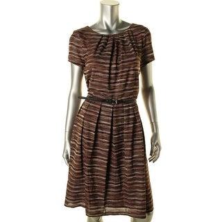 Ellen Tracy Womens Pleated Striped Wear to Work Dress - 12