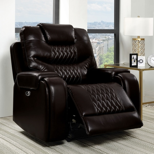 Furniture of America Baxe Transitional Faux Leather Recliner. Opens flyout.