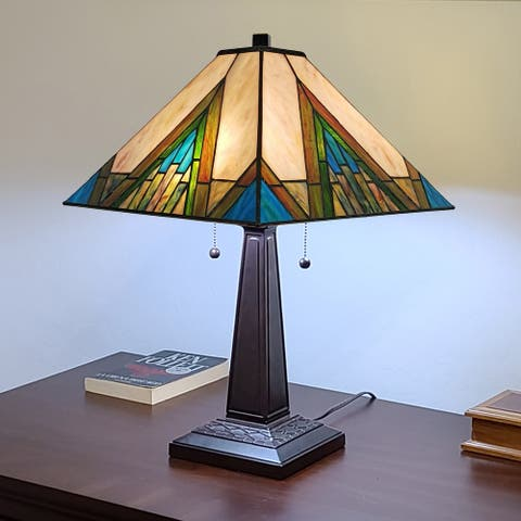 Gracewood Hollow Porochista 22-inch Tiffany-style Mission Table Lamp