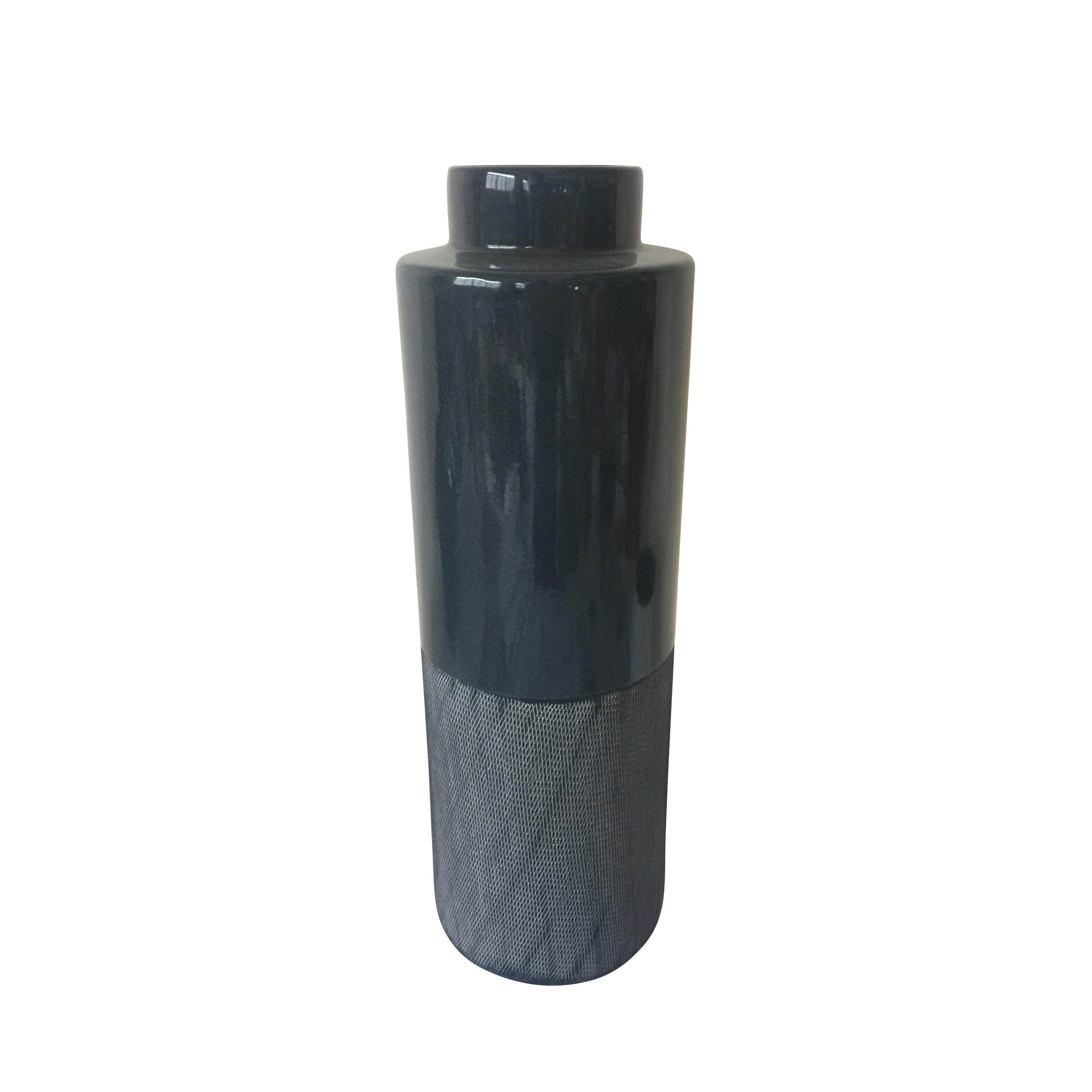 Contemporary Ceramic Vase with Cylindrical Shape, Gray