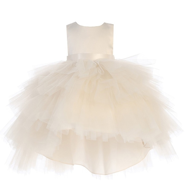 Baby Girls Champagne Satin Tutu Hi-Low Tape Sash Flower Girl Dress