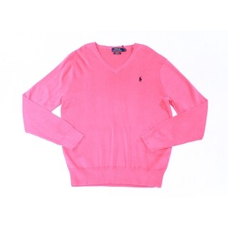 Polo Ralph Lauren NEW Pink Mens Size Large L Slim-Fit V-Neck Sweater