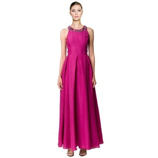Marchesa Notte Embellished Neck Crinkle Textured Evening Gown Dress - 4