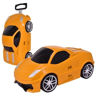 Costway Kid Pull Along Travel Case 3D Carry On Luggage Suitcase Trolley Car Shape Orange
