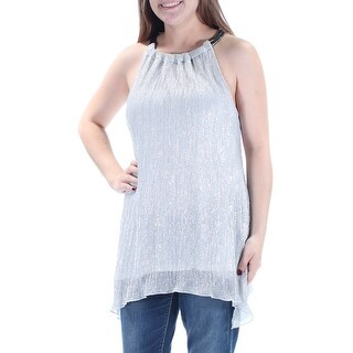ALFANI $80 Womens New 1332 Silver Sleeveless Halter Party Top M B+B