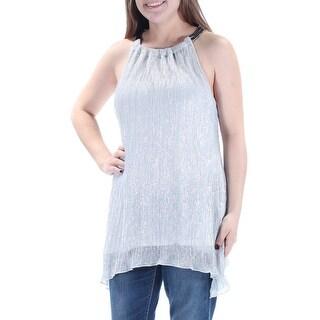 ALFANI $80 Womens New 1334 Silver Sleeveless Halter Party Top M B+B