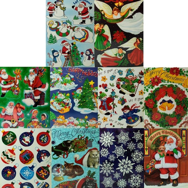 """Pack of 24 Christmas Festive Sticker Sheets 12"""" x 17"""""""