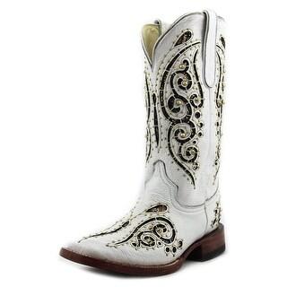 Ferrini Butterfly Women Square Toe Leather Western Boot