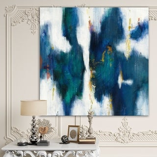 Designart 'Blue Glam Texture I' Contemporary Premium Canvas Wall Art - Blue