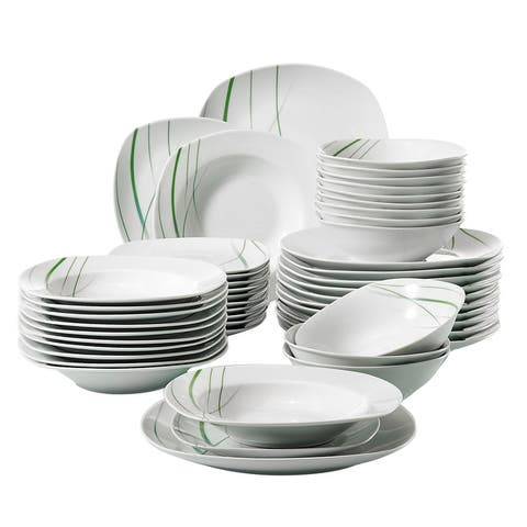 48-Piece Porcelain Dinnerware Set Green Stripe Patterns Plate Sets )