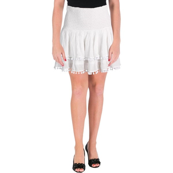 Shop Aqua Womens Flare Skirt Contrast Trim Layered Free