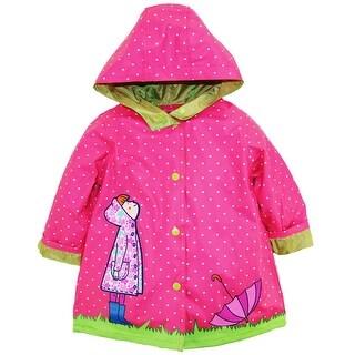 Wippette Toddler Girls Polka Dot Girl with Umbrella Hooded Raincoat Jacket