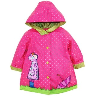 Wippette Toddler Girls Polka Dot Girl with Umbrella Hooded Raincoat Jacket
