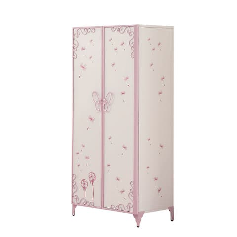 Metal Armoire with Butterfly Handle and Dandelions, White and Purple