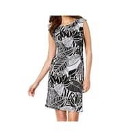 Connected Apparel Black Womens Size 14 Leaf-Print Sheath Dress