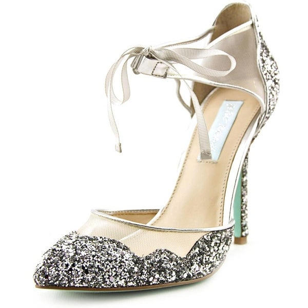 Betsey Johnson Stela Silver Glitter Pumps