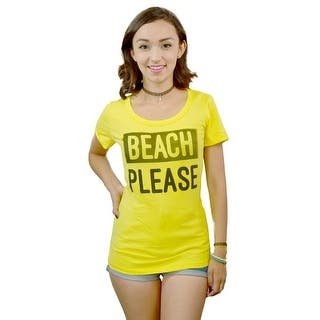 Three For Twelve Beach Please Graphic Printed Women's Casual T-shirt, Yellow|https://ak1.ostkcdn.com/images/products/is/images/direct/a246165e391bf398b15b264c7930225dabfe53f4/Three-For-Twelve-Beach-Please-Women%27s-Yellow-T-shirt.jpg?impolicy=medium