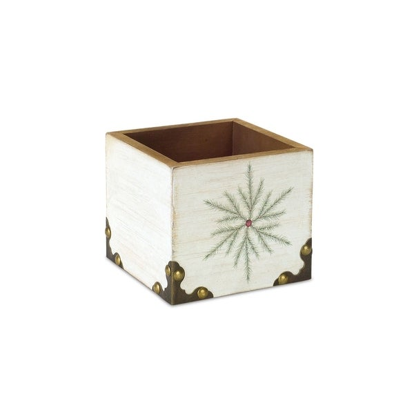 "4.5"" White and Green Snowflake Square Christmas Storage Box - N/A"