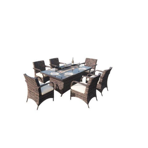7 Pieces Outdoor Wicker Fire Pit Rectangle Table Dining Set 6 Chairs