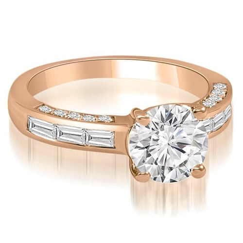 1.60 cttw. 14K Rose Gold Round and Baguette cut Diamond Engagement Ring