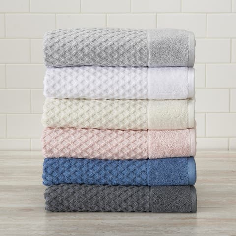 Great Bay Home Grayson Collection Cotton Textured Bath Towel Sets