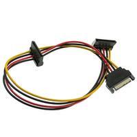 SATA Power Y Cable, Serial ATA Male to Dual Serial ATA Female, 15 Pin SATA Power, 14 inch