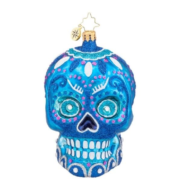Christopher Radko Glass La Calavera Skull Halloween Ornament #1018020 - BLue