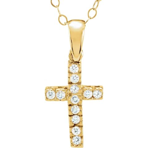 Curata 14k Yellow Gold 12x8mm Round Cubic Zirconia Polished Childrens CZ Religious Faith Cross Necklace