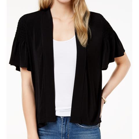CeCe Women's Black Size XS Open Front Ruched Ruffle Solid Cardigan