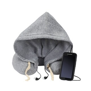 Memory Foam Travel Neck Pillow - with hood and built in earbuds