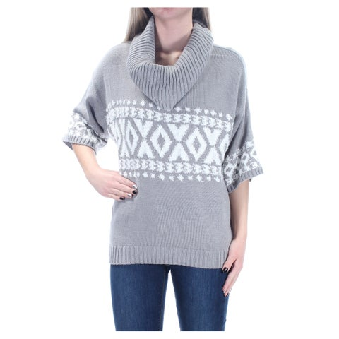 Womens Gray White Short Sleeve Cowl Neck Casual Sweater Size XS