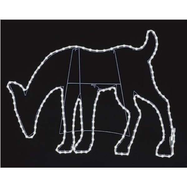"""31"""" Pure White LED Lighted Outdoor Deer Head Down Silhouette with Neon Flex Rope Lights Outdoor Decoration"""