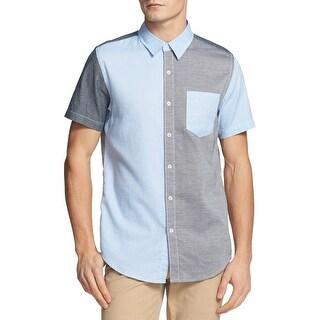Vintage Red Short Sleeve Colorblock Shirt Light Blue and Grey Large