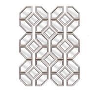 Set of 12 Matte Metallic Silver Decorative Geometric Wall Mirrors