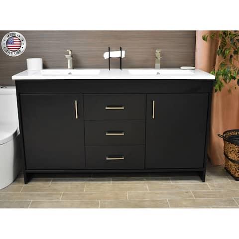 Volpa USA Rio 60-Inch Double Sink Freestanding Bath Vanity Set
