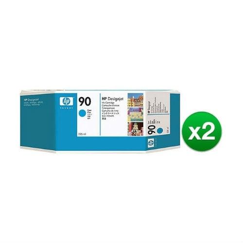 HP 90 225-ml Cyan DesignJet Ink Cartridge (C5060A) (2-Pack)
