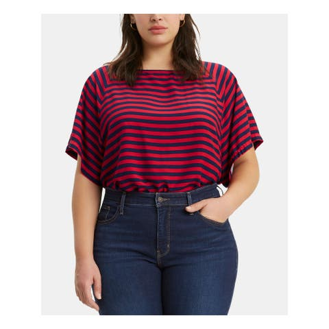 LEVI'S Womens Red Striped Short Sleeve Crew Neck Top Size 2X