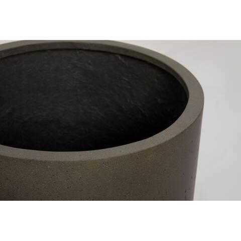 Mid Cement Finish Cylinder 1- Piece Fiber Stone Planter Pot