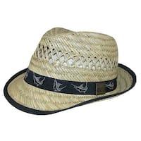 6b5e876080689 Guy Harvey Men s Rush Straw Fedora Hat with Marlin Embroidered Ribbon  Hatband